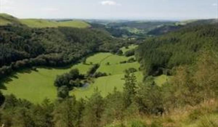 Stunning views towards Aberystwyth from the Miners Trail Bwlch Nant yr Arian.