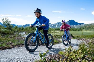Two children on a mountain biking trail in the mountains.