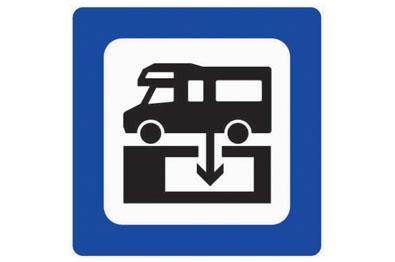 Schild, welches eine Entleerungstation für Wohnmobile anzeigt
