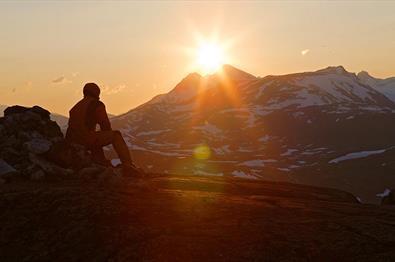 Utsikten i solnedgang.
