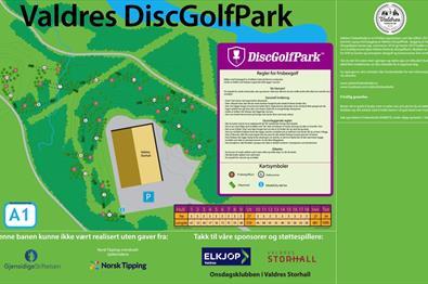 Kart over Valdres Discgolfpark 