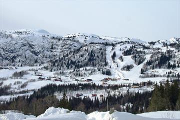 Vinterbilde oversikt Stavadalen hyttegrend