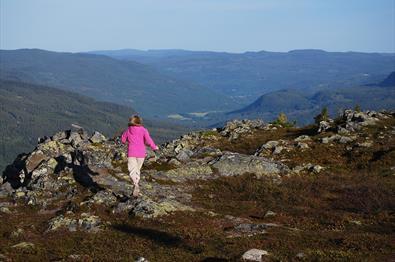 En jente i rosa genser på tur langs en fjellside med vid utsikt bakenfor.