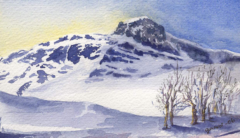 Akvarell av Gunvor Hegge - Bitihorn