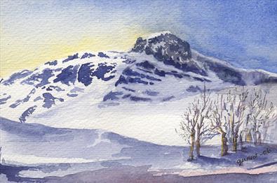 Aquarell von Gunvor Hegge - der Berg Bitihorn