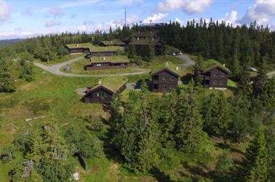 Oversiktsbilde over Aurdal Fjellpark Valdres en sommerdag.