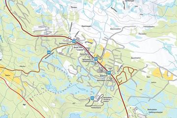 Kart for shuttlebussruta med busstoppene