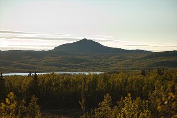 Djuptjernkampen reiser seg over grønne bjørkeskoger i motlys.