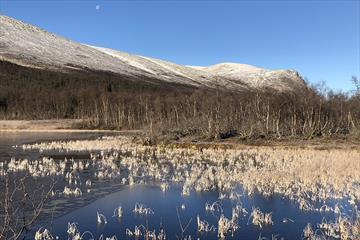 Morgenstimmun an einem schönen Herbsttag am See Matkista. Eine Eisschicht hat sich gebildet, und in der Höhe ist Schnee gefallen.
