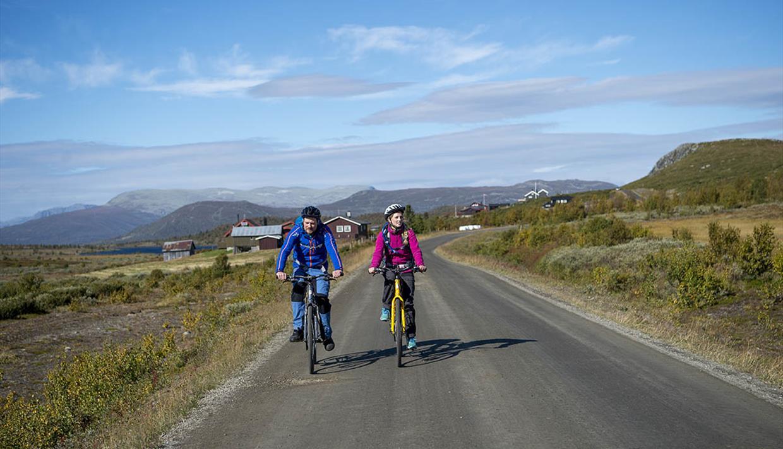 Zwei farbenfroh gekleidete Radfahrer auf breiter Schotterstraße in freliegendem Hochland unterwegs auf der Stølsvidda entlang des Mjølkevegen.