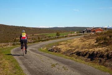 Radfahrer auf einer Almstraße mit rotgemalten Hütten und schneebedeckten Bergen am Horizont