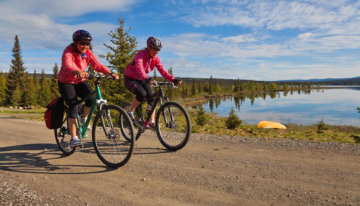 Two cyclists on the road along Pardisfjorden.