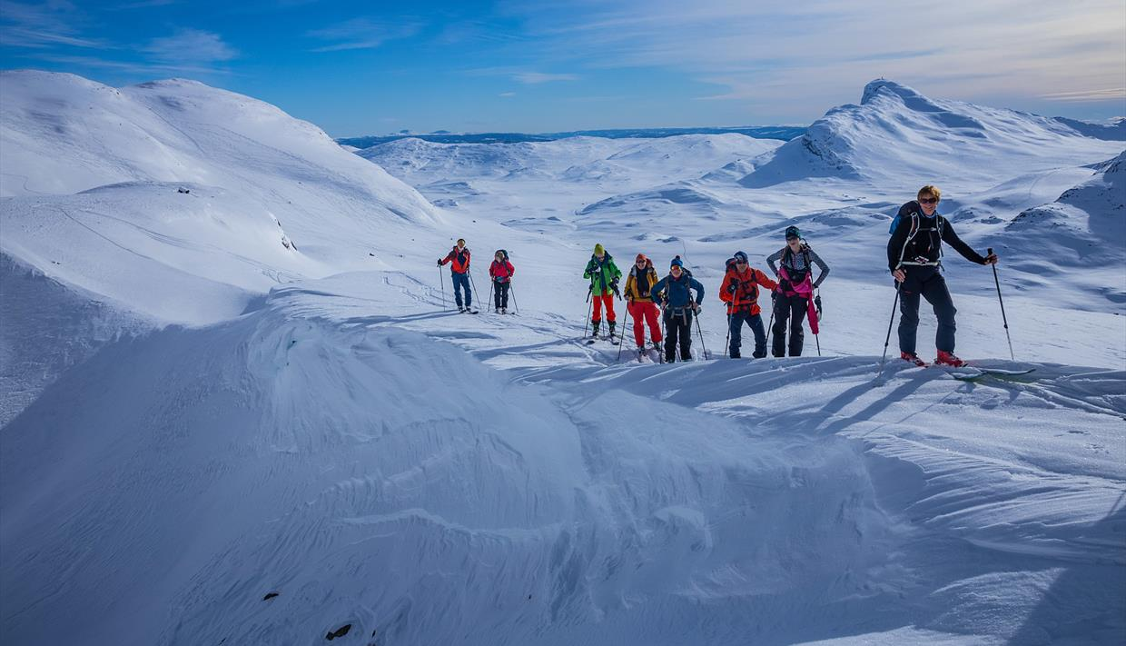 Group of 9 persons on their way up a mountain on randonee skis. Snow covered mountains in the background.