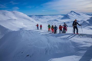 Følge på 9 personer på vei opp en fjellside på randoneeski. Snødekt fjellandskap i bakgrunnen.