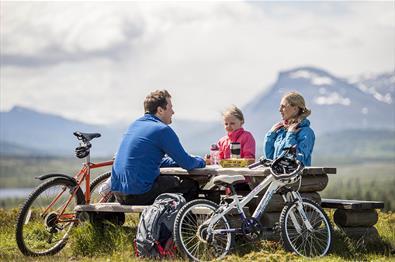 Pause under sykkelturen med utsikt til Skogshorn i bakgrunnen.
