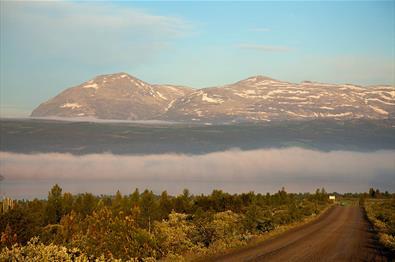Am Panoramavegen mit dem Skogshorn im Hintergrund.