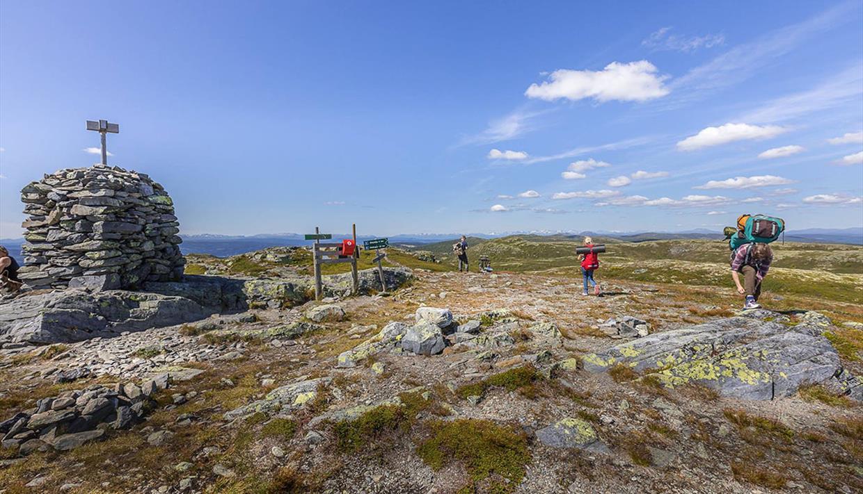 Eine große Steinwarte und Wanderer auf dem höchsten Punkt des Bjørgovarden