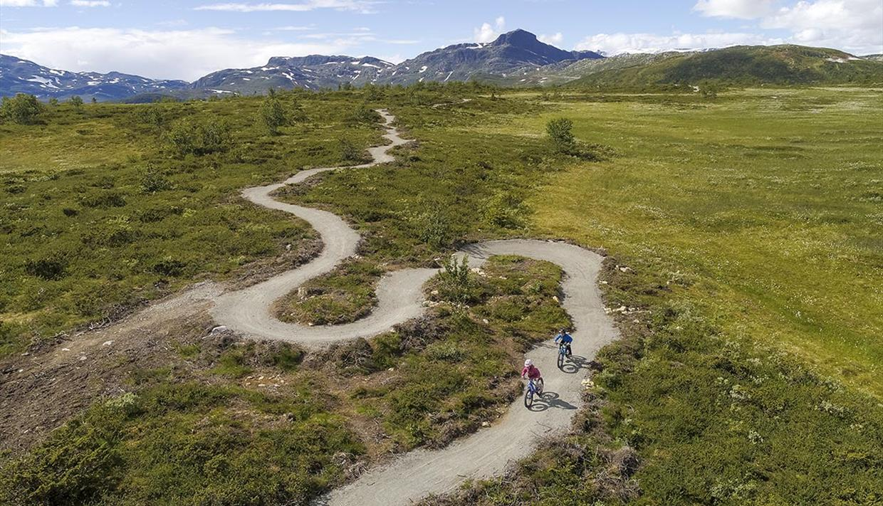 Drone image (aerial view) over Beitostølen Trail Areana