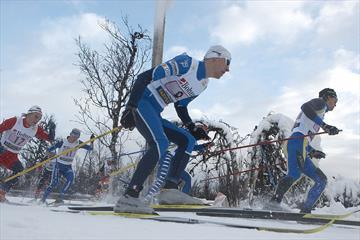 Cross-country skiing athletes at Beitosprinten racing.