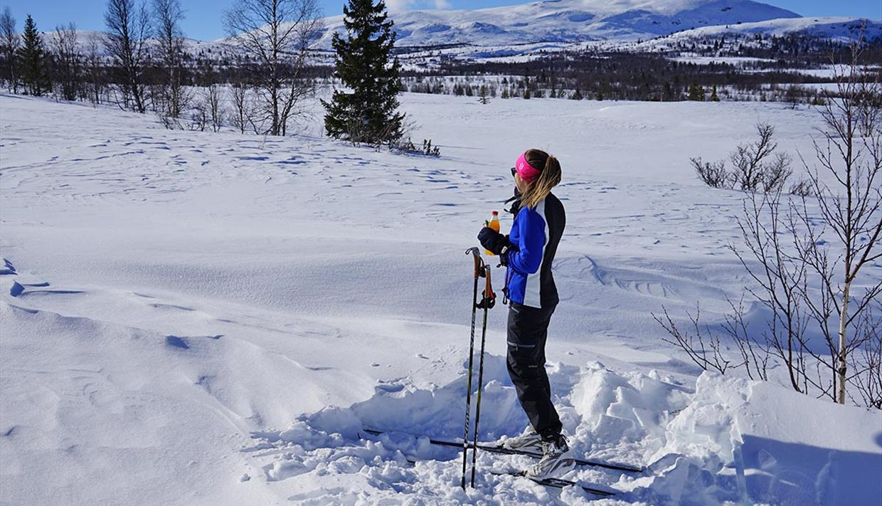 A skier enjoys a soda in the spring sunshine in the cross-country skiing tracks at Kvålestølen. A mountain in the background.