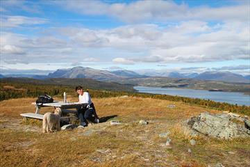 Fra rasteplassene oppe i høyden på Golsfjellet er det flott utsikt mot fjell og vann.