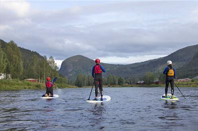 Tre stand-up-padlere på en rolig elv med skogdekt fjell i bakgrunnen.