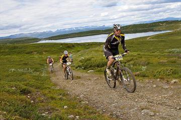 Mountainbiker auf einem Track über das Syndisfjell. Im Hintergrund sieht man Jotunheimens Berge.