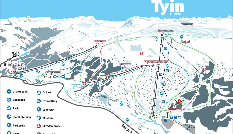 Map of the alpine skiing slopes at Tyin-Filefjell skisenter