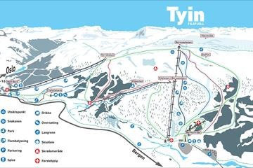 Kart over nedfartene på Tyin-Filefjell skisenter