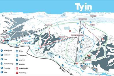 Karte der Abfahrten im Tyin-Filefjell Skisenter