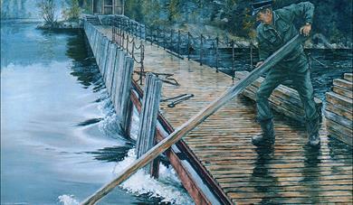 TUNGT ARBEID: Vannmengden som skulle gå gjennom dammen, ble regulert ved at slusevokterne tok opp eller satte ned nåler.