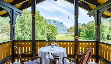 view from the balcony of Dalen Hotel towards the Telemark Canal