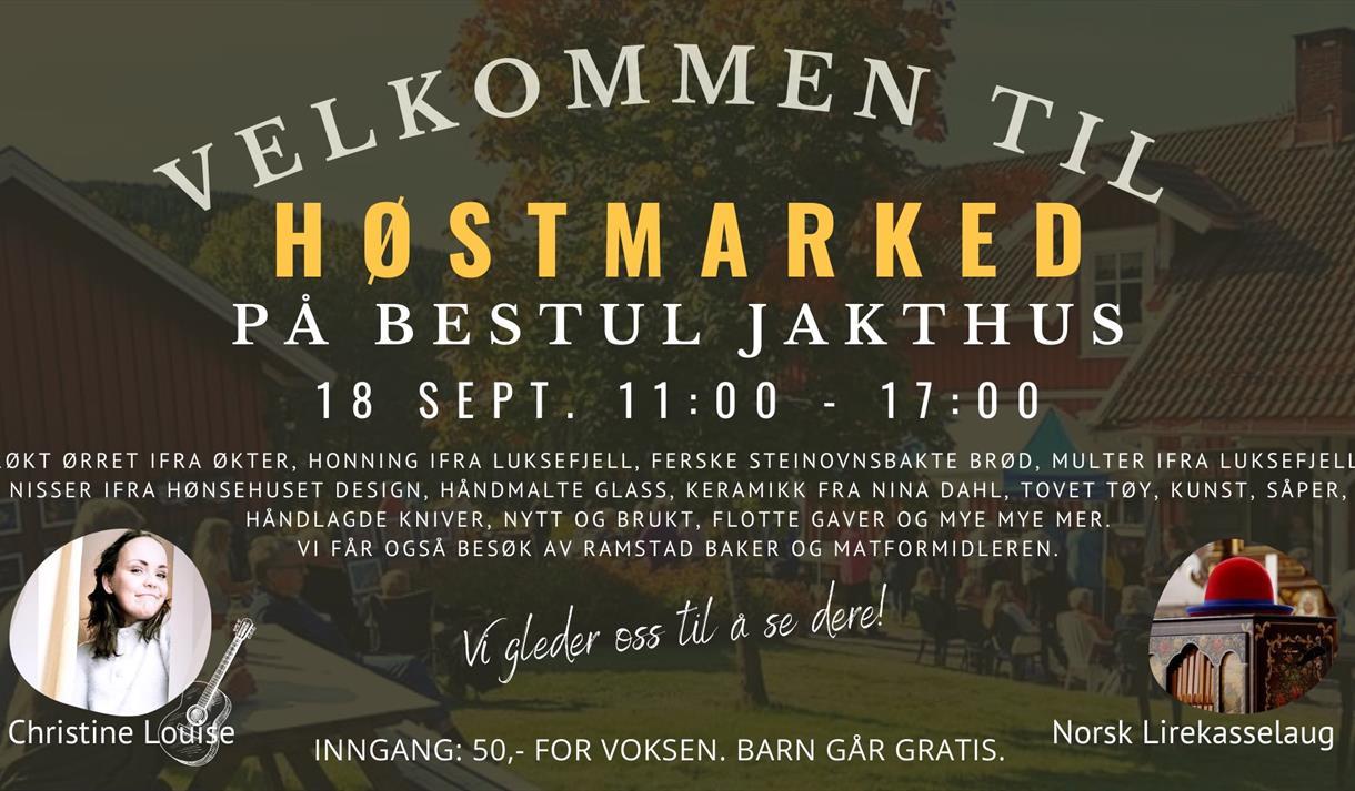 Plakat Høstmarked på Bestul Jakthus