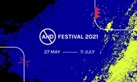 AND Festival 2021 poster with blue background and yellow and black splashes of paint.