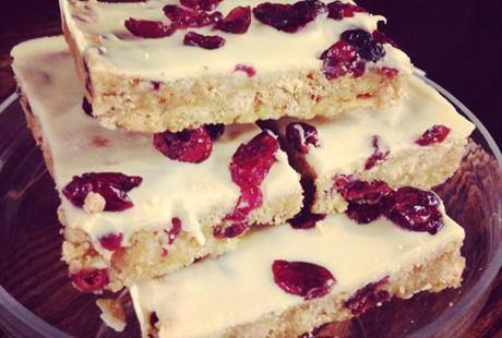 Raspberry and white chocolate slice Benty Farm Wirral
