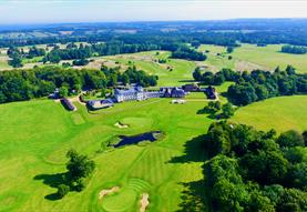 Bowood hotel from above surrounded by green fields