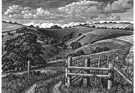 woodblock engraving showing countryside view with rolling hills