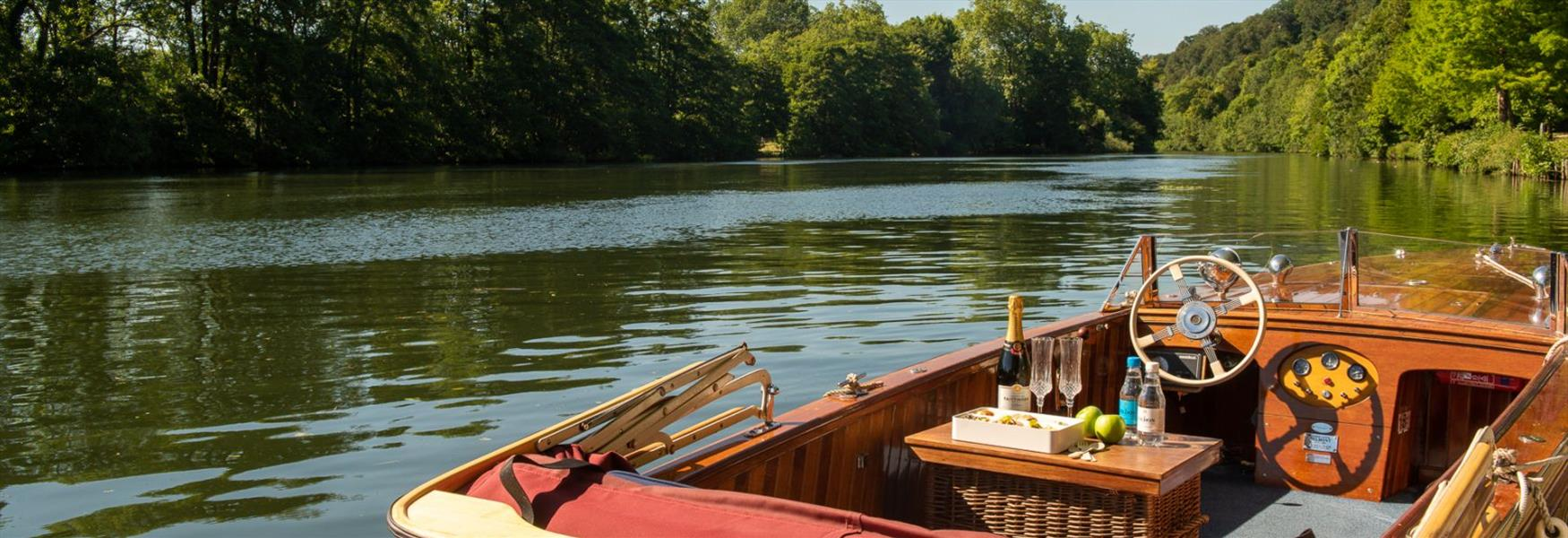 Boat picnic on the River Thames at Cliveden