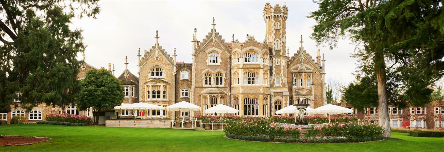 Exterior of Oakley Court, a riverside hotel in Windsor