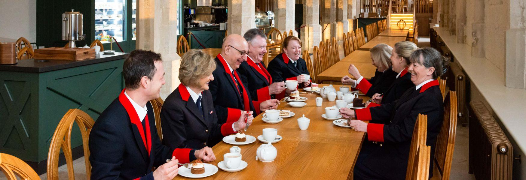 Royal Collection Trust Wardens, who welcome visitors to Windsor Castle, sampling the menu in the new Undercroft Café before it opened to the public.