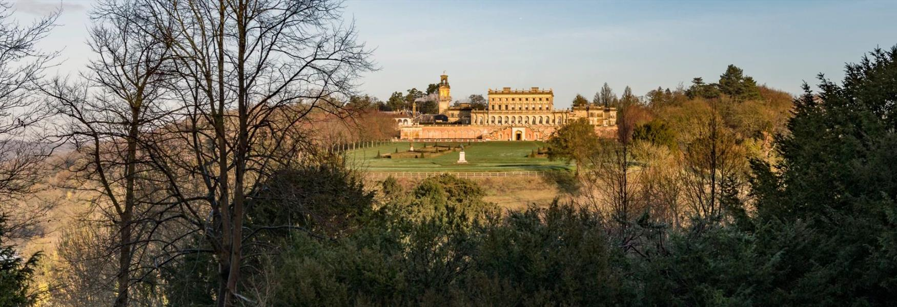 A view of Cliveden House from the woodlands