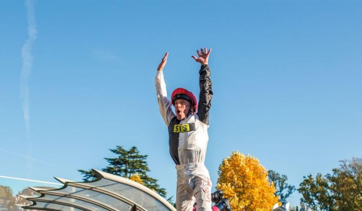 Frankie Dettori's flying dismount   QIPCO British Champions Day at Ascot Racecourse