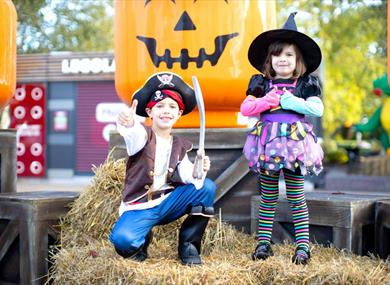 Children dressed up and enjoying Brick or Treat at LEGOLAND® Windsor