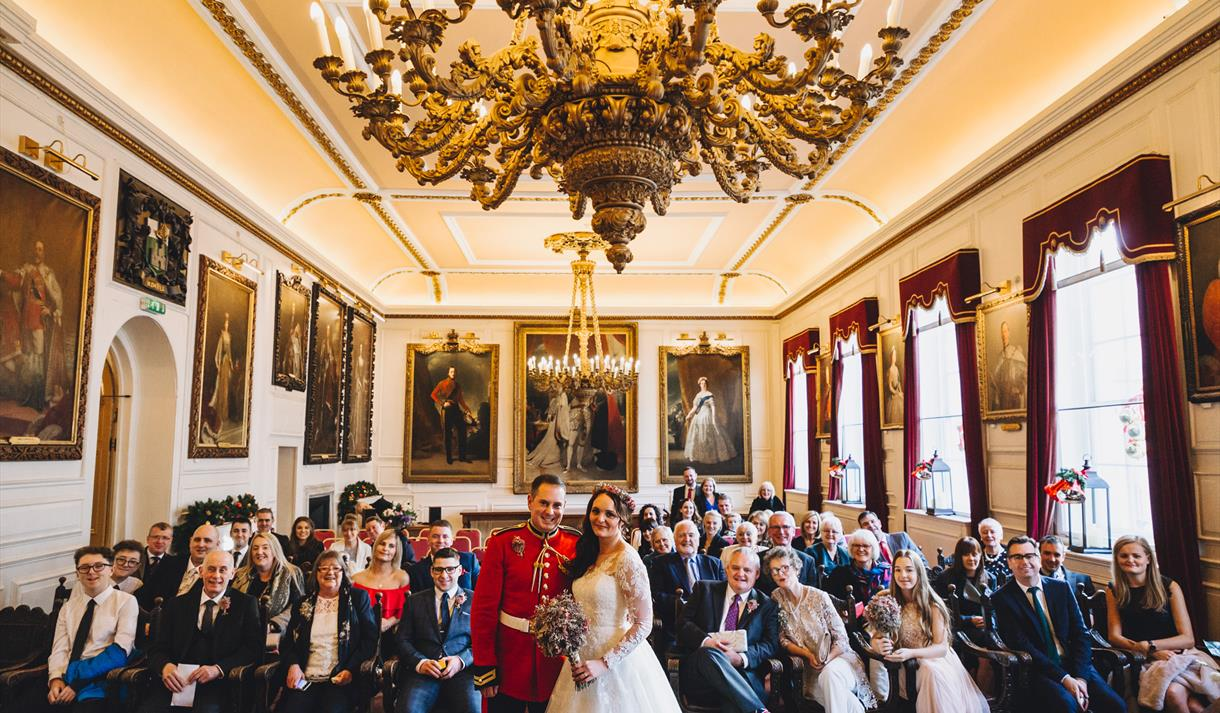 Wedding party in the Chamber, Windsor Guildhall