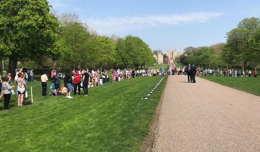 Visitors gathered on the Long Walk for the 21-gun salute for The Queen's birthday