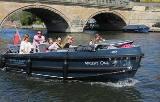 Family on Olympic Class launch from Hobbs of Henley, River Thames.