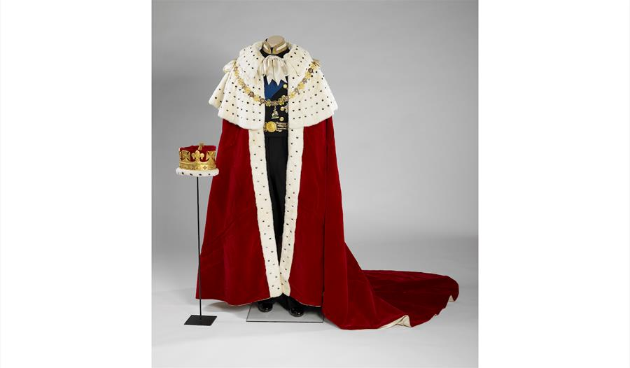 The Coronation Robe and Coronet worn by HRH The Prince Philip, Duke of Edinburgh during Her Majesty The Queen's Coronation on 2 June 1953
