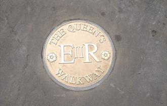 The Queen's Walkway: marker in pavement