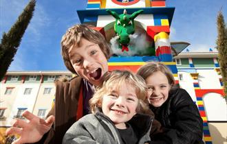 Smoke Breathing LEGO Dragon at Entrance to the Legoland Hotel