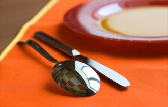 Spoon, knife and plate